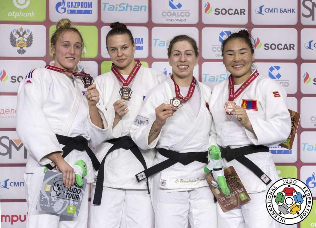 グランドスラム・エカテリンブルク2018、女子63kg級メダリスト。左からルーシー・レンシャル、ダリア・ダヴィドワ、キャサリン・ブーシェミン=ピナード、ボルド・ガンハイチ。