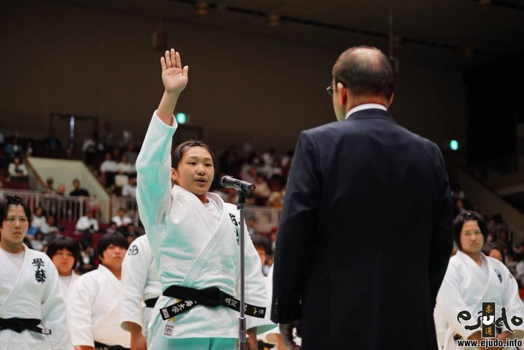 第34回皇后盃全日本女子柔道選手権、立川桃による選手宣誓