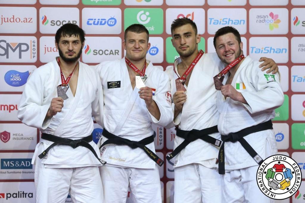グランドスラム・バクー2019、100kg級メダリスト。左から2位のカズベク・ザンキシエフ、優勝のマイケル・コレル、3位のゼリム・コツォイエフとベンジャミン・フレッチャー。