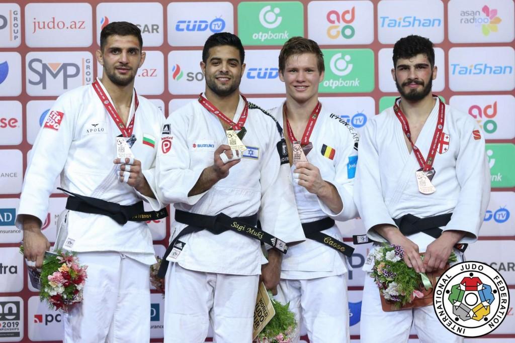 グランドスラム・バクー2019、81kg級メダリスト。左から2位のイヴァイロ・イヴァノフ、優勝のサギ・ムキ、3位のマティアス・カッスとタト・グリガラシヴィリ。