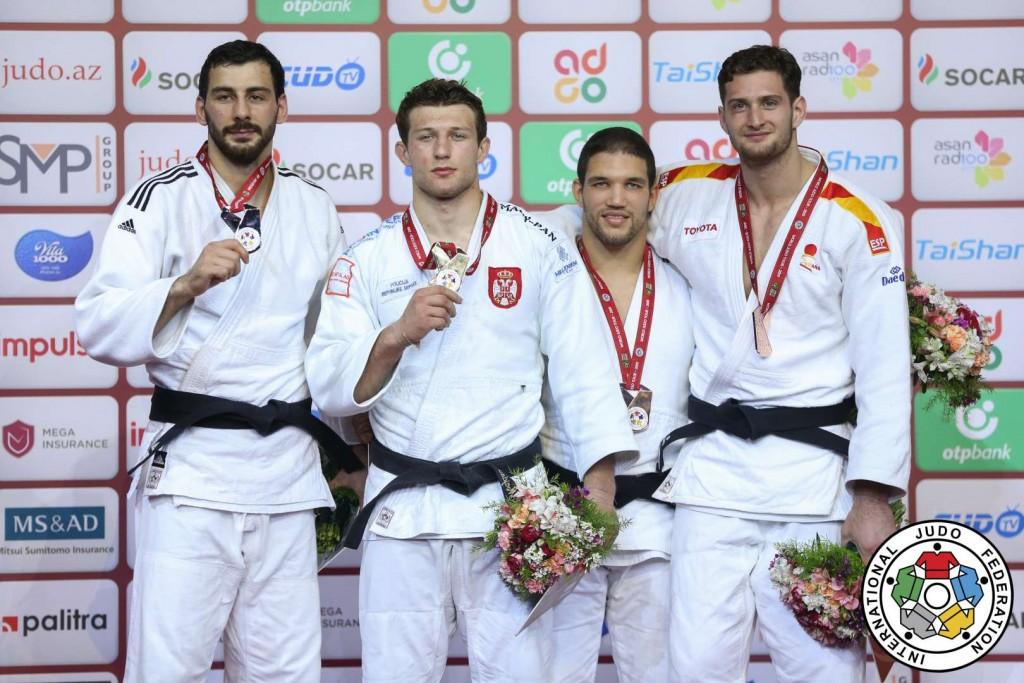 グランドスラム・バクー2019、90kg級メダリスト。左から2位のママダリ・メディエフ、優勝のネマニャ・マイドフ、3位のクリスティアン・トートとニコロス・シェラザディシヴィリ。