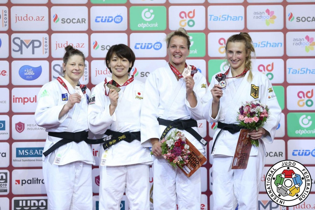 -63kg medalists at Judo GRAND SLAM BAKU 2019