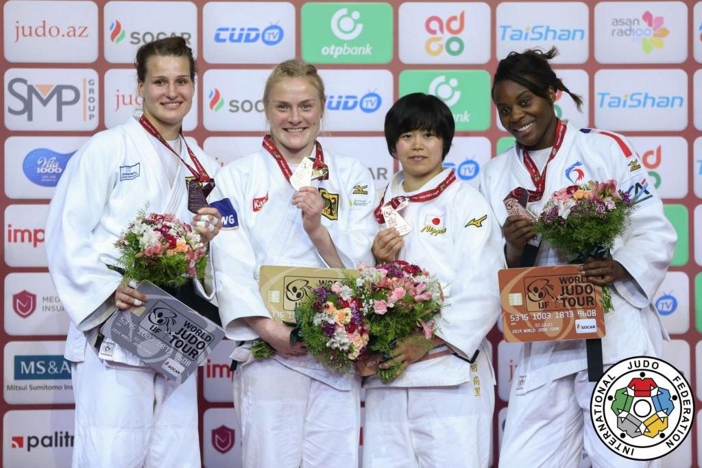 グランドスラム・バクー2019、78kg級メダリスト。左から2位のアナ=マリア・ヴァグナー、優勝のゲラ・ザアリシヴィリ、3位の濵田尚里とマドレーヌ・マロンガ。