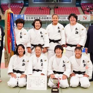 2019年度全日本学生柔道優勝大会(女子28回)、女子5人制優勝の東海大
