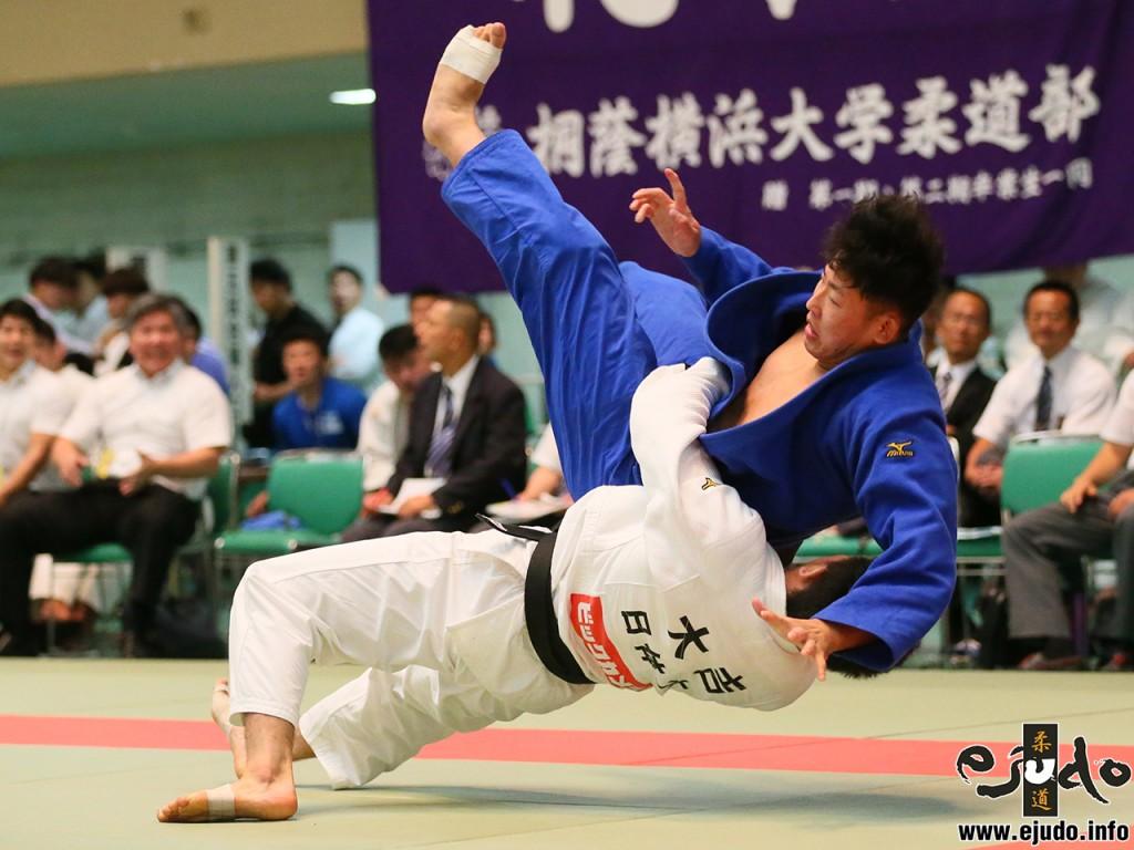 第68回全日本学生柔道優勝大会3回戦、日本体育大の副将大吉賢が日本大・山口貴也から裏投「一本」