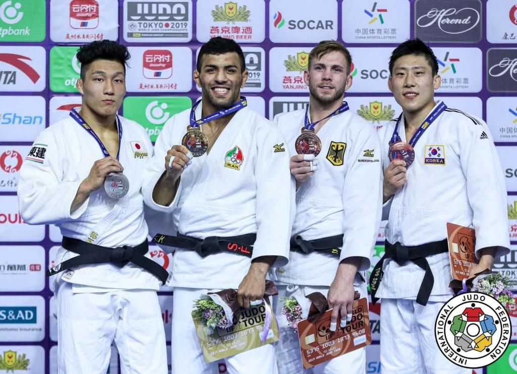 柔道グランプリ・フフホト2019、81kg級メダリスト。左から2位の藤原崇太郎、優勝のサイード・モラエイ、3位のドミニク・レッセルとイ・スンホ。