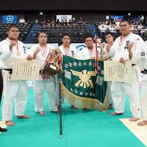 第93回令和元年度金鷲旗高校柔道大会、男子優勝の国士舘高(東京)