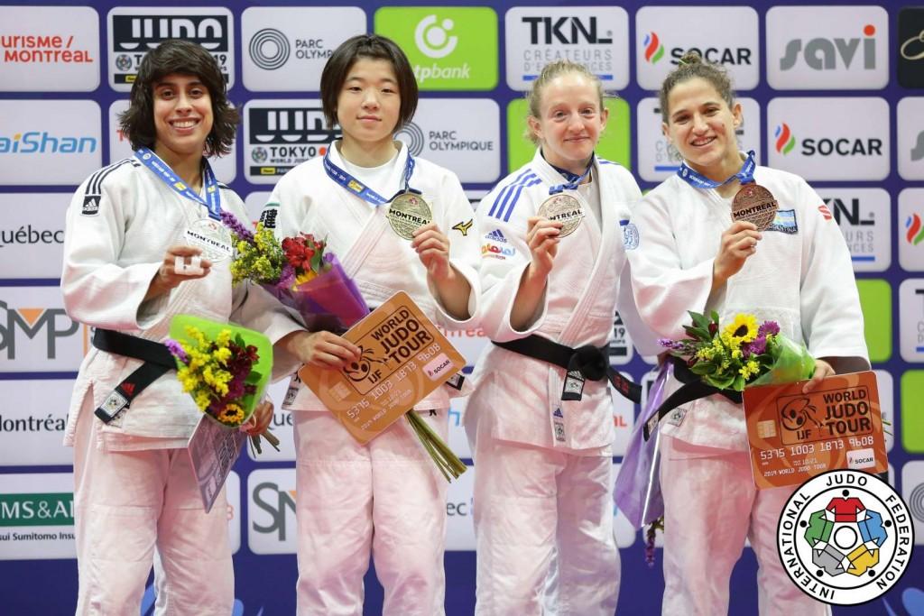 柔道グランプリ・モントリオール2019、48kg級メダリスト。左から2位のカタリナ・コスタ、優勝の古賀若菜、3位のシラ・リショニー、パウラ・パレト。