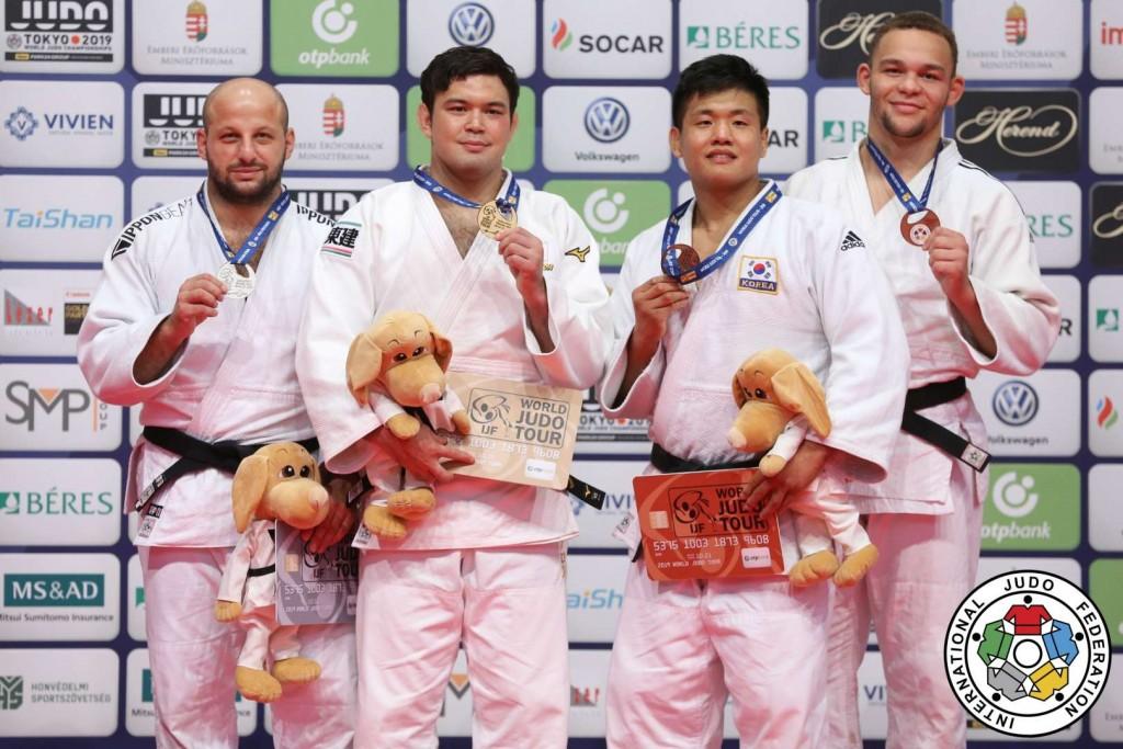 柔道グランプリ・ブダペスト2019、100kg級メダリスト。左から2位のミナシキン、優勝のウルフアロン、3位のチョ・グハンとシメオン・カタリナ。