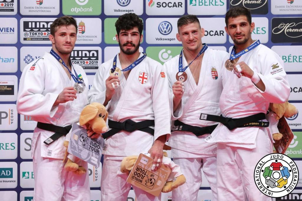 柔道グランプリ・ブダペスト2019、81kg級メダリスト。左から2位のジョアオ・マセド、優勝のタト・グリガラシヴィリ、3位のイヴァイロ・イヴァノフとアッティラ・ウングヴァリ