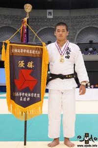 第68回インターハイ柔道競技、100kg級優勝の森健心(大牟田高)