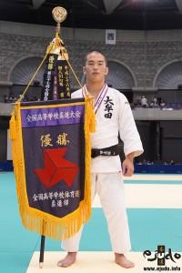 第68回インターハイ柔道競技、81kg級優勝の竹市大祐(大牟田高)