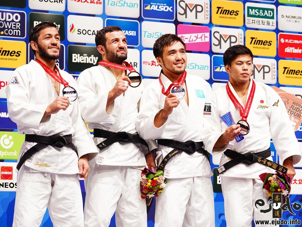 東京世界柔道選手権2019、男子60kg級メダリスト。左から2位のシャラフディン・ルトフィラエフ、優勝のルフミ・チフヴィミアニ、3位のイェルドス・スメトフと永山竜樹。