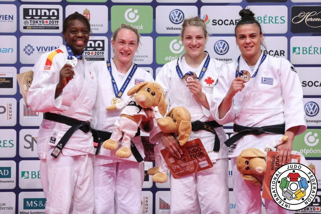 柔道グランプリ・ブダペスト2019、70kg級メダリスト。左から2位のマリア・ベルナベウ、優勝のジェンマ・ハウエル、3位のケリタ・ズパンシックとエリザヴェト・テルツィドゥ。