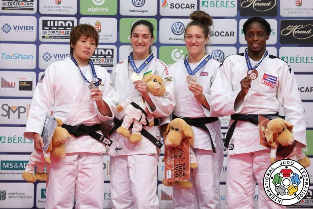 柔道グランプリ・ブダペスト2019、78kg級メダリスト。左から2位の佐藤瑠香、優勝のアギアール、3位のナタリー・パウエルとカリエマ・アントマルチ。