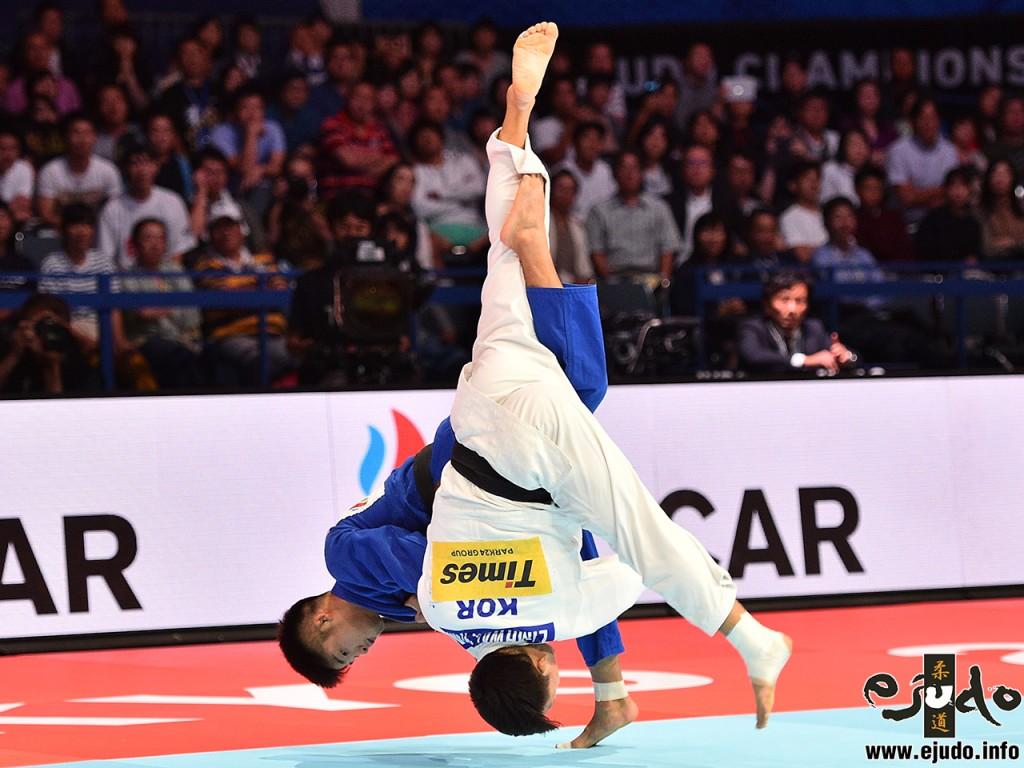 東京世界柔道選手権2019男子73kg級決勝決勝、丸山城志郎がキム・リマンから内股でまず「技有」