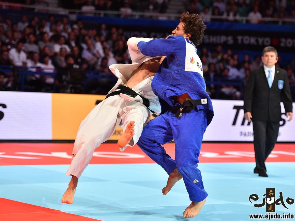 3位決定戦、ヘイダロフがマフマドベコフから小外掛「技有」