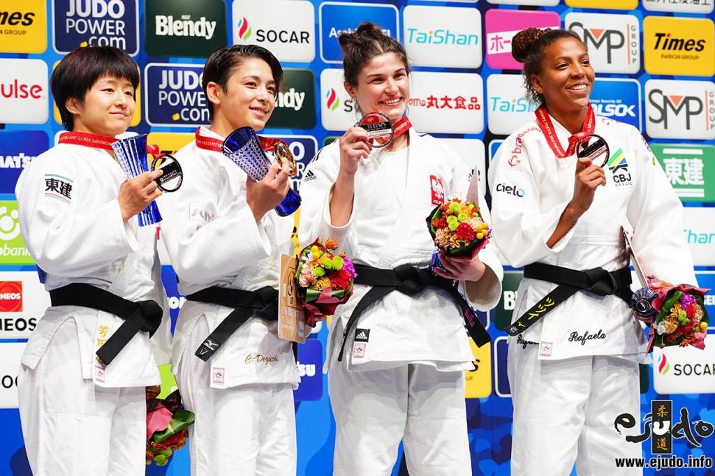 世界柔道選手権2019、女子57kg級57kg級入賞者。左から2位の芳田司、優勝の出口クリスタ、3位のユリア・コヴァルツィクとラファエラ・シウバ