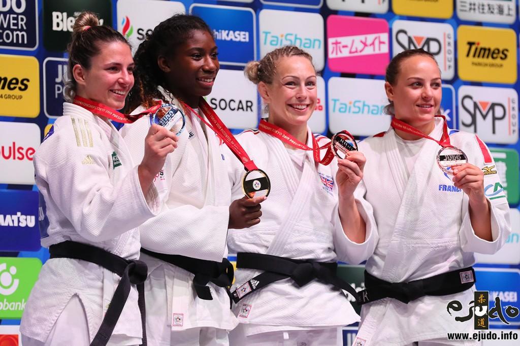 東京世界柔道選手権2019、70kg級メダリスト。左から2位のバルバラ・ティモ、優勝のマリー=イヴ・ガイ、3位のサリー・コンウェイとマルゴ・ピノ