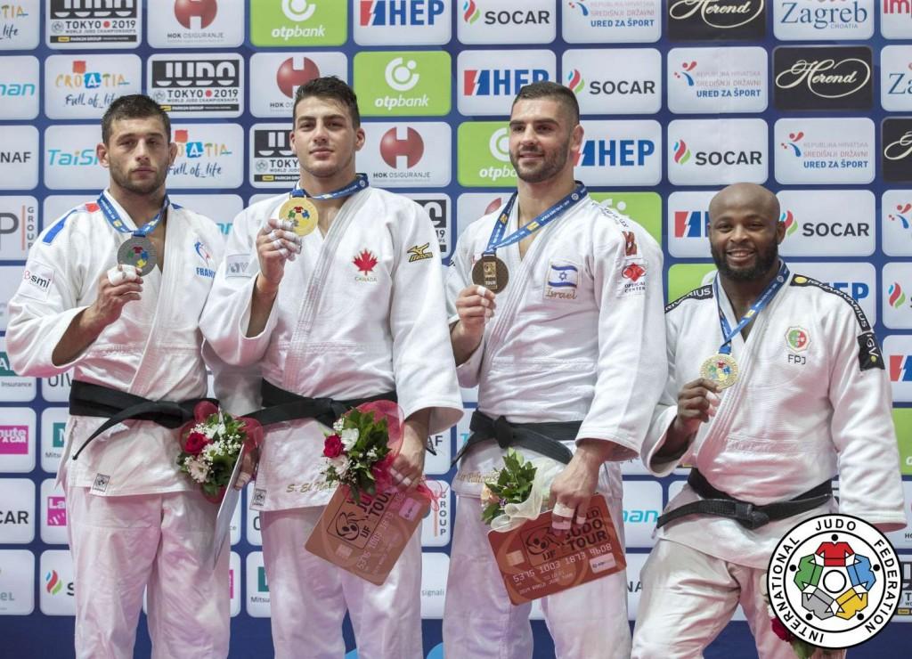 柔道グランプリ・ザグレブ2019、100kg級メダリスト。左から2位のアレクサンドル・イディー、優勝のシャディ・エルナハス、3位のペテル・パルチクとジョルジ・フォンセカ。