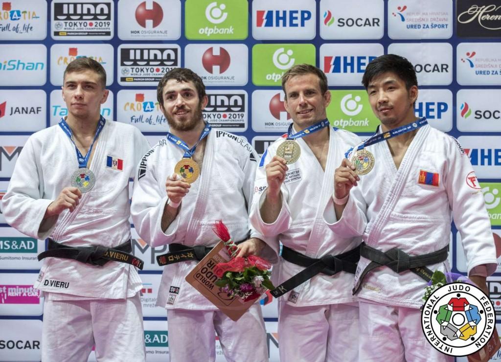 柔道グランプリ・ザグレブ2019、66kg級メダリスト。左から2位のデニス・ヴィエル、優勝のアルベルト・ガイテロ=マルティン、3位のキリアン・ルブルーシュとダヴァドルジ・ツムルフレグ。