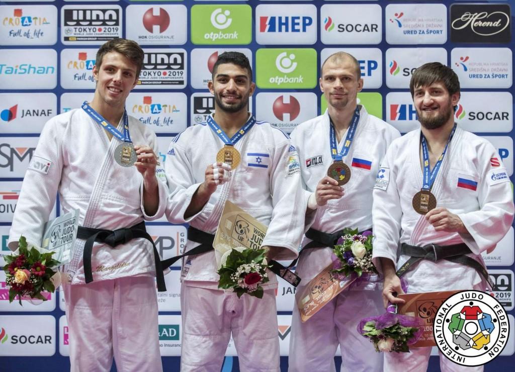 柔道グランプリ・ザグレブ2019、73kg級メダリスト。左から2位のアルチュール・マルジェリドン、優勝のトハル・ブトブル、3位のデニス・イアルツェフとムサ・モグシコフ。