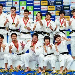 東京世界柔道選手権2019、男女混合団体戦で3連覇を果たした日本チーム