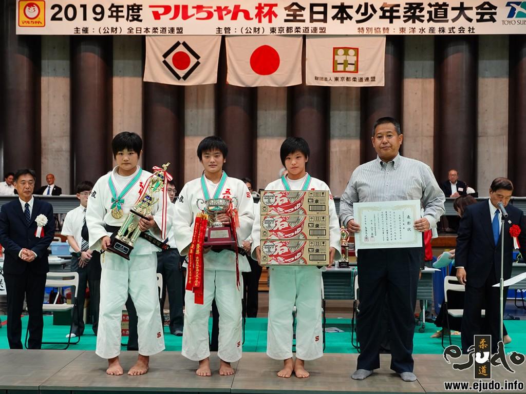 2019年度マルちゃん杯全日本少年柔道大会、中学生女子の部優勝の五條東中学校