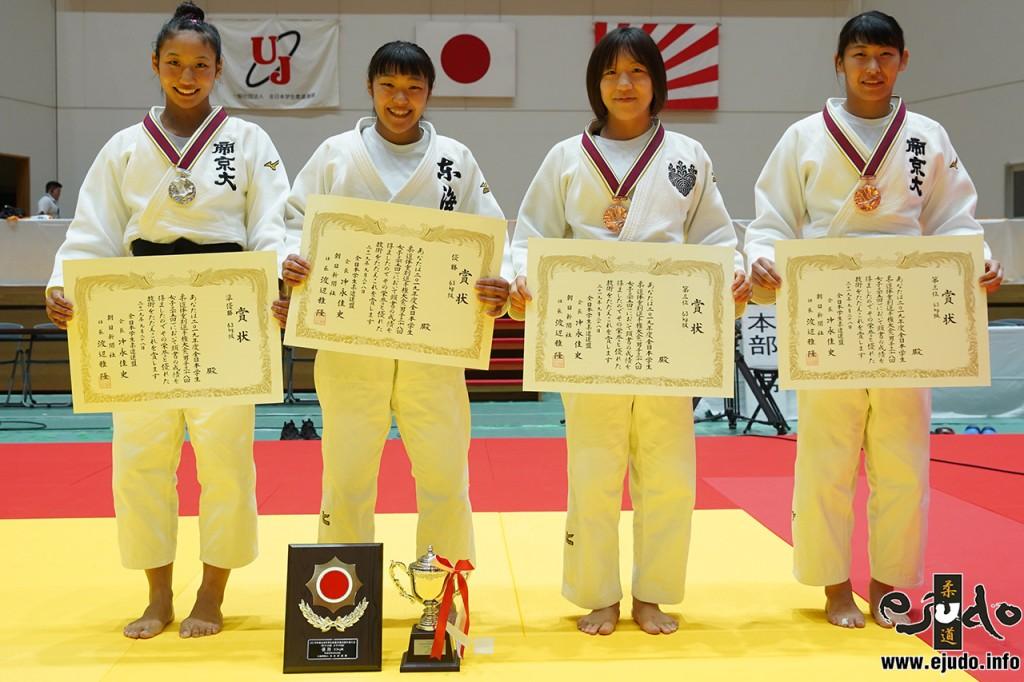 63kg級入賞者。左から2位の渡邉聖子、優勝の立川桃、3位の明石ひかると工藤七海