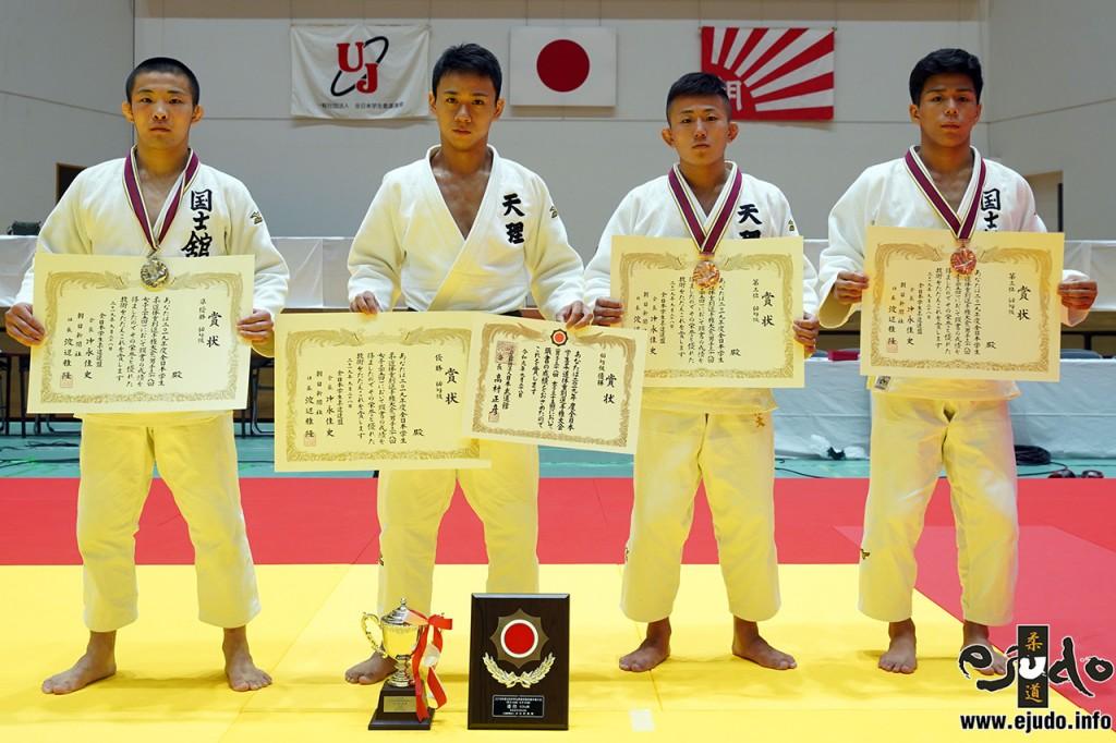 60kg級入賞者。左から2位の長谷川一八、優勝の納庄兵芽、3位の樋口裕太と松村将輝