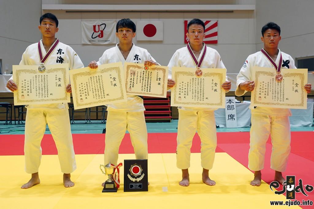 66kg級入賞者。左から2位の鈴木練、優勝の内村光暉、3位の野原広夢と堤大輝。