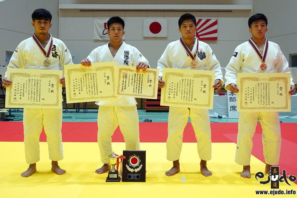 73kg級入賞者。左から2位の大吉賢、優勝の島田隆志郎、3位の石郷岡秀征と西園航太。