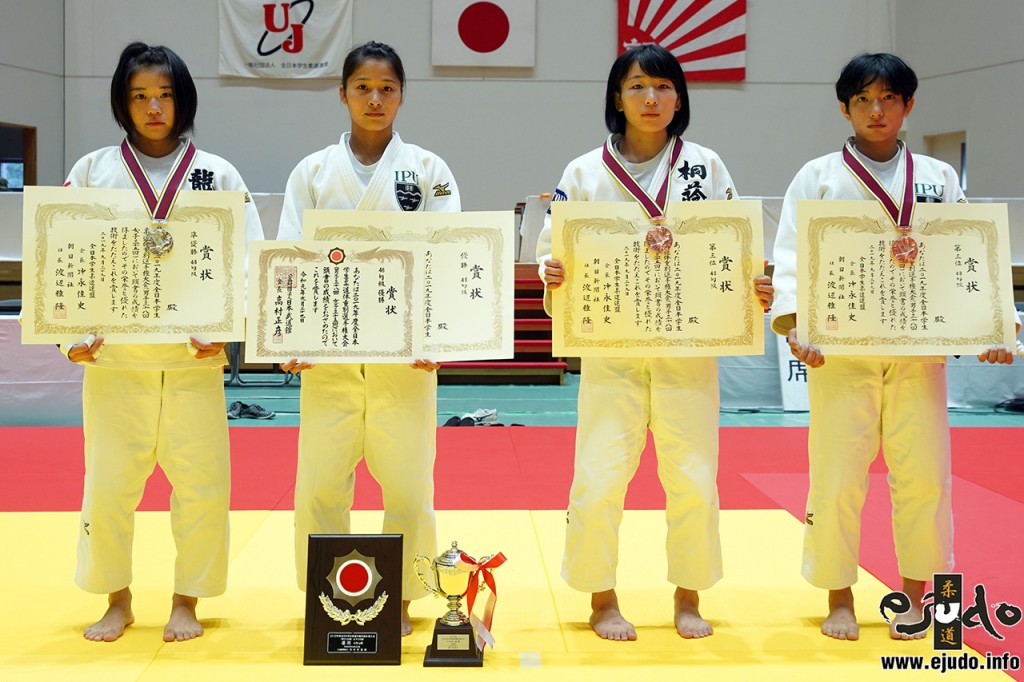 48kg級入賞者。左から2位の有野涼、優勝の小倉葵、第3位の馬場彩子と田崎ほのか。