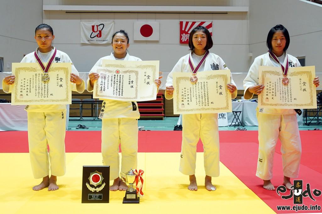 57kg級入賞者。左から2位の栗田ひなの、優勝の竹内鈴、第3位の瀧川萌と香川瑞希。