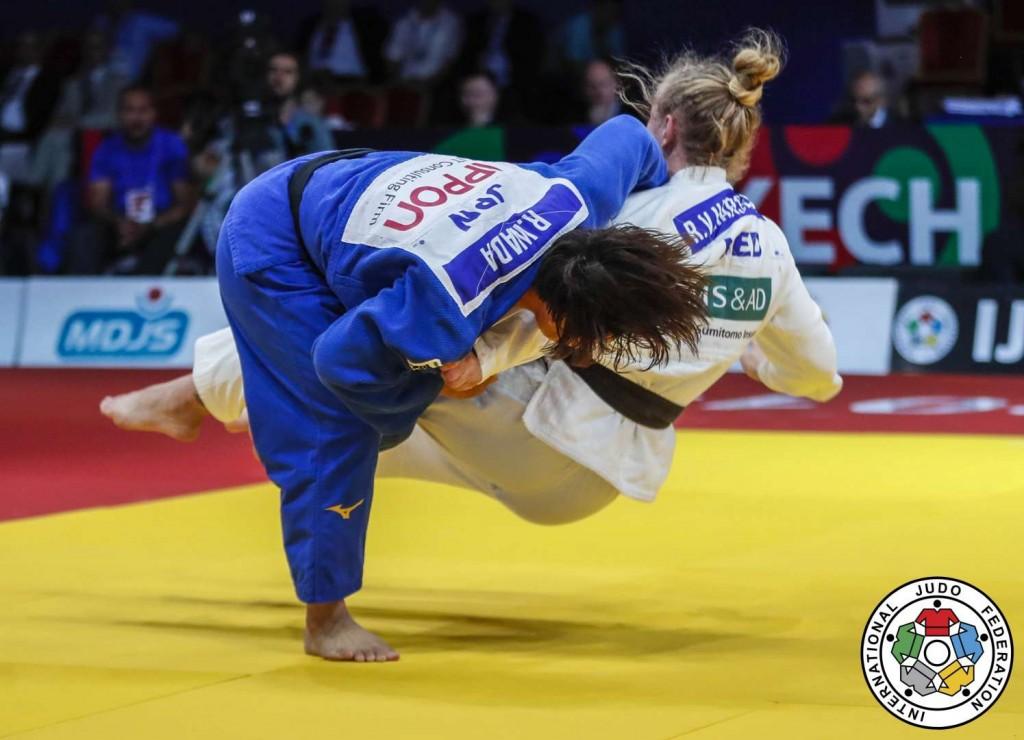 78kg級決勝、和田梨乃子がレネー・ファンハルセラールから大外刈「技有」