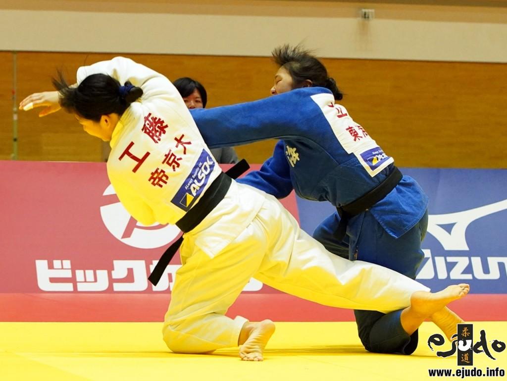 63kg級準決勝、立川桃が工藤七海から大内刈「技有」