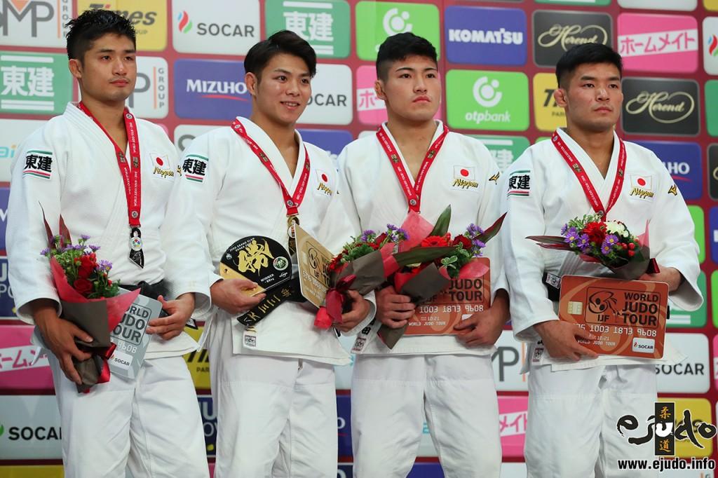 66kg級メダリスト。左から2位の丸山城志郎、優勝の阿部一二三、3位の相田勇司と西山祐貴。
