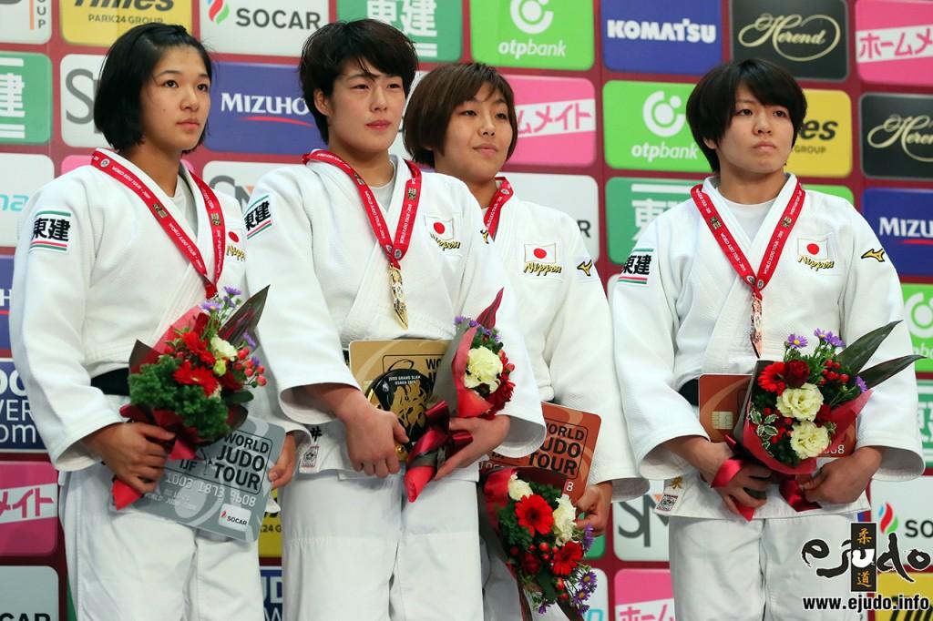 63kg級メダリスト。左から2位の幸田奈々、優勝の土井雅子、3位の鍋倉那美と田代未来。