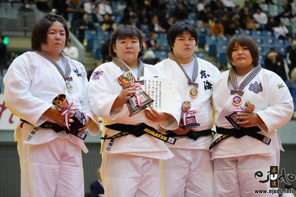 78kg超級メダリスト。左から2位の山部佳苗、優勝の冨田若春、3位の児玉ひかると粂田晴乃。